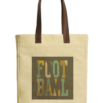 Football Typography-1 Beige Printed Canvas Tote Bags Leather Handles WAS_30