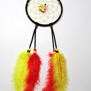"Pokemon Pikachu dreamcatcher, medium black 5"" ring, yellow and red web"