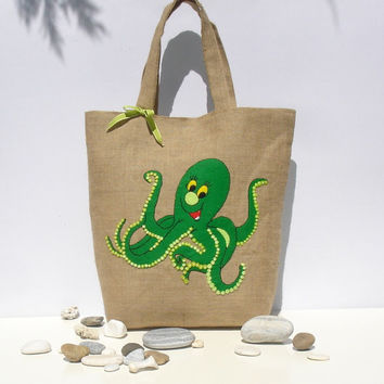 Tote bag with a green octopus, Chic Jute ,handmade,applique,nautical style, carry all, travel tote, beach bag, book bag