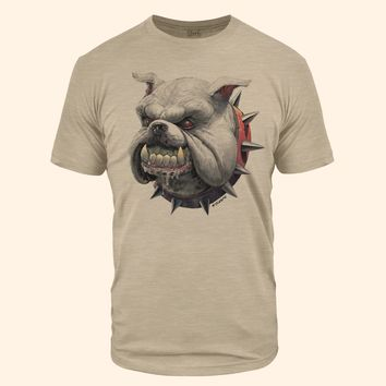 Bulldog Head Sand Tri Blend T-Shirt