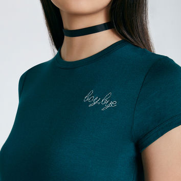 Boy Bye Embroidered Graphic Baby Tee | Wet Seal