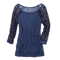 Aerie Lace Sleeve Cozy T-Shirt | Aerie for American Eagle