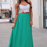Happy Hour Maxi Skirt - Shamrock Green