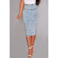 Vintage High-Waisted Furcal Bodycon Denim Skirt | Kitty's Clawset