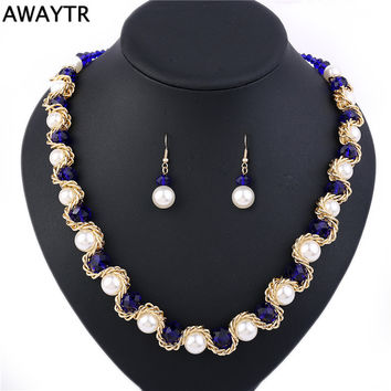 AWAYTR 2017 Elegant Women Crystal Pearl Jewelry Set New Costume Simulated-pearl Necklace Earrings Jewelry Sets For Wedding Gift