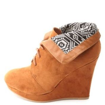 Tribal-Lined Cuffed Lace-Up Wedge Booties by Charlotte Russe - Cognac