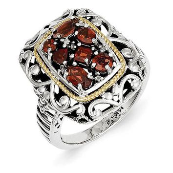 Antique Style Sterling Silver with 14k Yellow Gold Diamond & Gemstone Ring