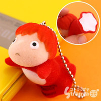 Studio Ghibli Ponyo on The Cliff Flocking Doll Cell Phone Strap (Ponyo)