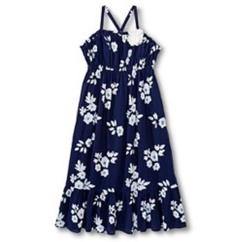 Girls' Floral Gauze Maxi Dress - Nightfall Blue: Target