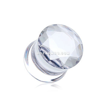 A Pair of Solid Clear Crystalline Ear Gauge Plug