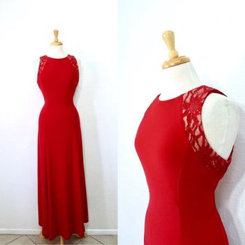 Vintage 1980s dress Lipstick Red Halter Maxi Prom Evening gown Size 8