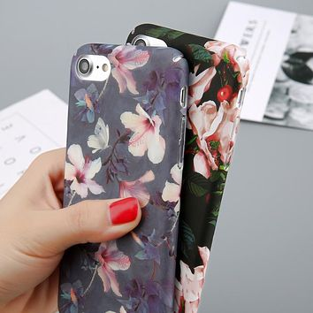 Flower Cherry Tree Hard  Phone Cases Candy Colors Leaves Print Cover Coque For iPhone 6 6s 7 8 Plus