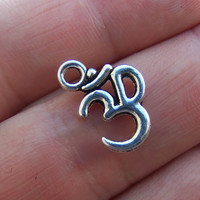 50 Ohm om aum charms in silver tone ~ F274