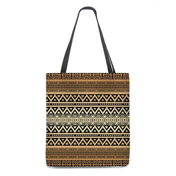 Tribal Tote Bag in mocha brown