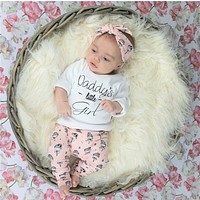 Newborn Baby Girls Clothes 3Pcs Set Long Sleeve Letters Daddy Little Girl T-shirt Tops+Cartoon Pants+Headband Toddler Clothing