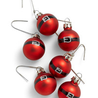 Mini Santa Belt Glass Ornaments Set