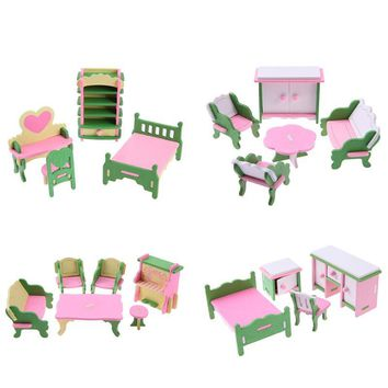 Mini Wooden Furniture Toys Set Baby DIY Dollhouse Sets Simulation Kids Educational Pretend Play Furniture Toys Doll Accessories