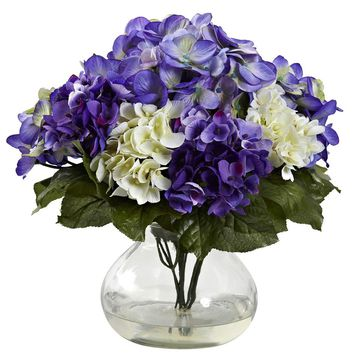 Silk Flowers -Mixed Hydrangea With Vase Artificial Plant