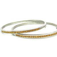 Citrine Stacking Bracelets. Topaz Rhinestone Bangles, Set of Two. Channel Set Golden Crystals. Hinged Ovals. Vintage 1980s Fashion Jewelry