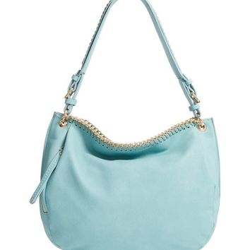 SONDRA ROBERTS Faux Leather Hobo Turquoise $85
