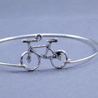 Lovely Bicycle Silver  Bracelet ,constellation Charm Bangle,Silver Jewelry ,Custom Gift for Women