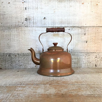 Teapot Mid Century Copper Teapot Copper Tea Kettle Antique Metal Teapot Metal Tea Pot Copper Planter Small Planter Farmhouse Chic Kitchen