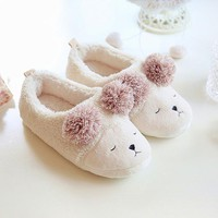 New Winter Animal Shape Mujer Shoes Slippers Women Home Cute Short Plush Warm Sheep Pregnant Women Floor Slip Beige Slippers HOT