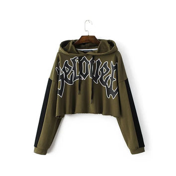 Spring Women's T Shirt Hooded  Tops Loose  Letters Cotton Long Sleeve T-shirt Female T Shirts