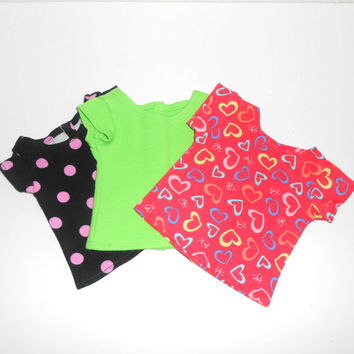 American Girl Doll Clothes 3 Knit Tee Shirts Lot with Polka Dots and Hearts Green Shirt fits 18 inch dolls
