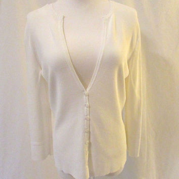 Talbots Cardigan Sweater Women's Small White Deep V Neck 3/4 Length Sleeves