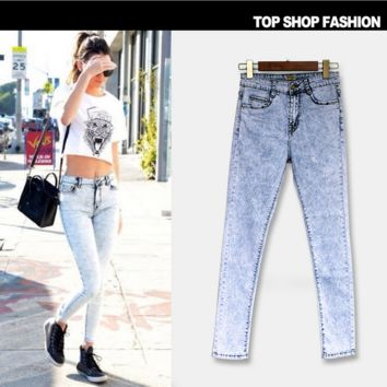 Hot sale fashion Snowflakes show thin high wais cowboy pants