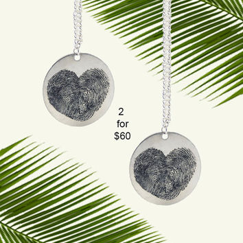 2 Personalized Fingerprint Heart Pendant Necklaces