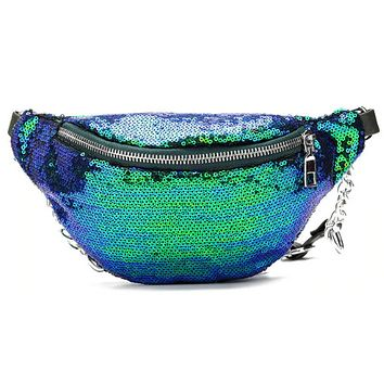 Sequin Fanny Pack With Chain Detail (Available In 4 Colors)