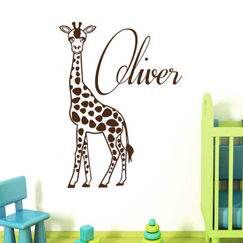 Giraffe Wall Decals Monogram Vinyl Decal Sticker Interior Design Custom Boy Personalized Name Animals Art Kids Nursery Room Decor KT164