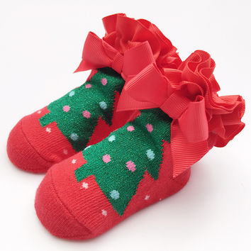Lace Christmas Baby Winter Cotton Children Socks [8854574534]