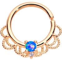 "16 Gauge 5/16"" Blue Faux Opal Rose Gold Plated Seamless Circular Ring"