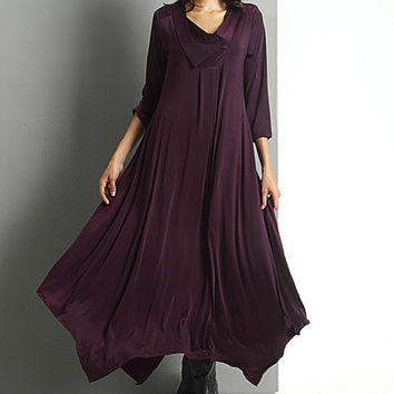 Reborn Collection Plum Shawl Collar Handkerchief Maxi Dress | zulily