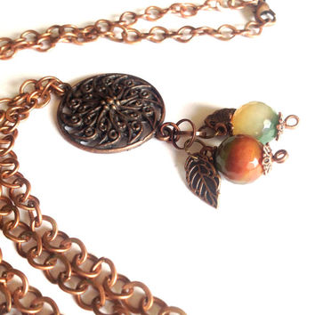 Boho Long Flower Necklace - Bohemian Layering Chain in Agate and Antiqued Copper