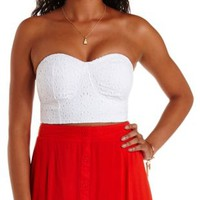 White Eyelet Lace Bustier Crop Top by Charlotte Russe