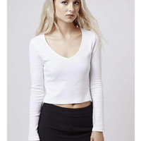 Knitted Long Sleeve V-neck Knitted Stretch Sweaters