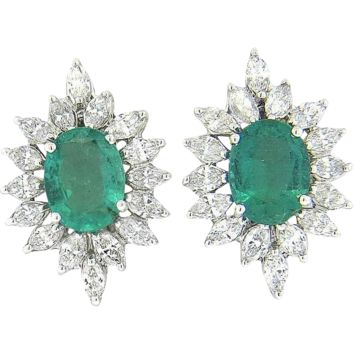 Amazing and Stunning 1.80ct Marquis Diamond 1.40ct Emerald Earrings set in 18k Gold White