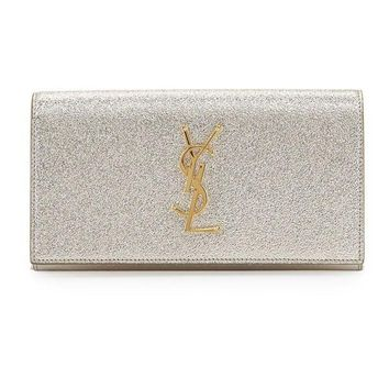 Gold Emblem Metallic Clutch Wallet by Saint Laurent