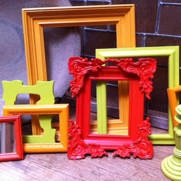 Vintage Frames, 5 x 7 Frame, Upcycled, Ornate Painted Frames, Funky Home Decor, Bright Frames,