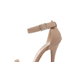 Anne Michelle Enzo 01N Nude Matte Single Strap Heels