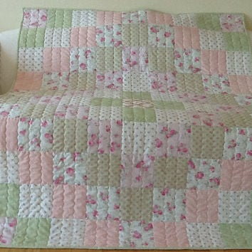 LOVE, Hope, Slipper Roses, Shabby Chic Large Lap, Throw, Homemade Handmade Quilt 53 x 65 inches Free Shipping Canada and USA