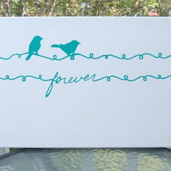 Forever, Canvas Wall Art,  Birds on a wire, Home Decor, Modern Wall Art, Housewares, Teal, Blue