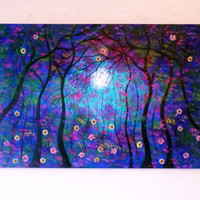 Large oil Paintings Original contemporary  modern- Moon landscape with real flowers- free shipping- Vadal