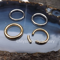 "12g Gold Septum Segment Ring 10g 1/2"" Silver Ear Nose Hoop Nipple Seamless Rings Body Jewelry Cartilage Earrings 12mm Piercings Pierced Ears"