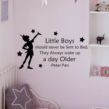 Wall Decals Quotes - Peter Pan Little Boys Should Never Be Sent To Bed- Wall Decals Nursery Decal For Kids Q019