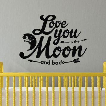 "XL Love You To The Moon And Back Vinyl Wall Decal Sticker Children's Room Baby Nursery 28.5"" w x 21"" h"